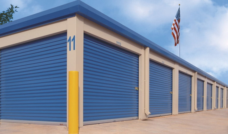 blue commercial rollup doors