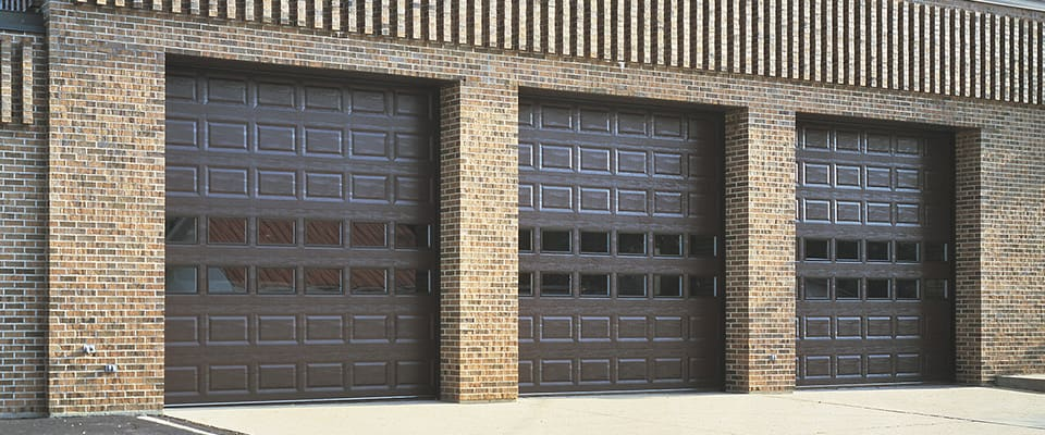 brown commercial garage doors from Clopay